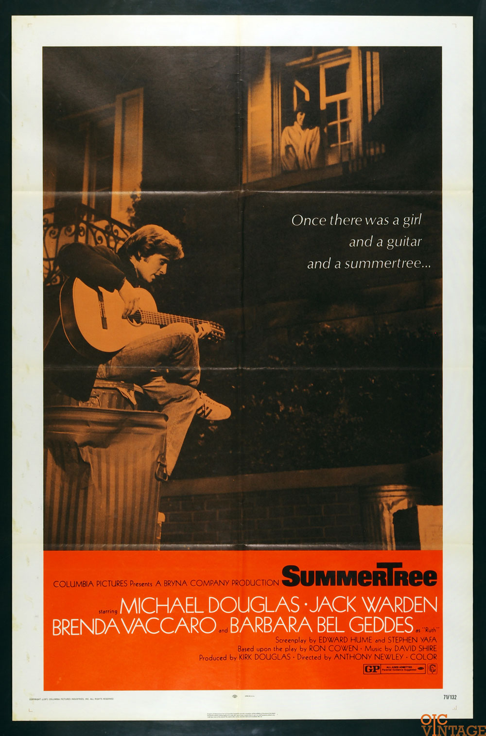 Summertree Movie Poster 1971 Michael Douglas 1 sheet 27 x 41