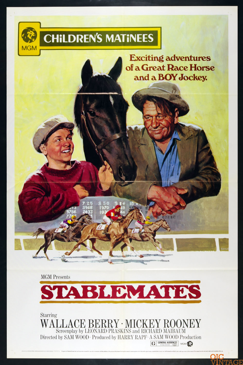 Stablemates Movie Poster R1973 Mickey Rooney Wallace Beery 27 x 41 1 Sheet