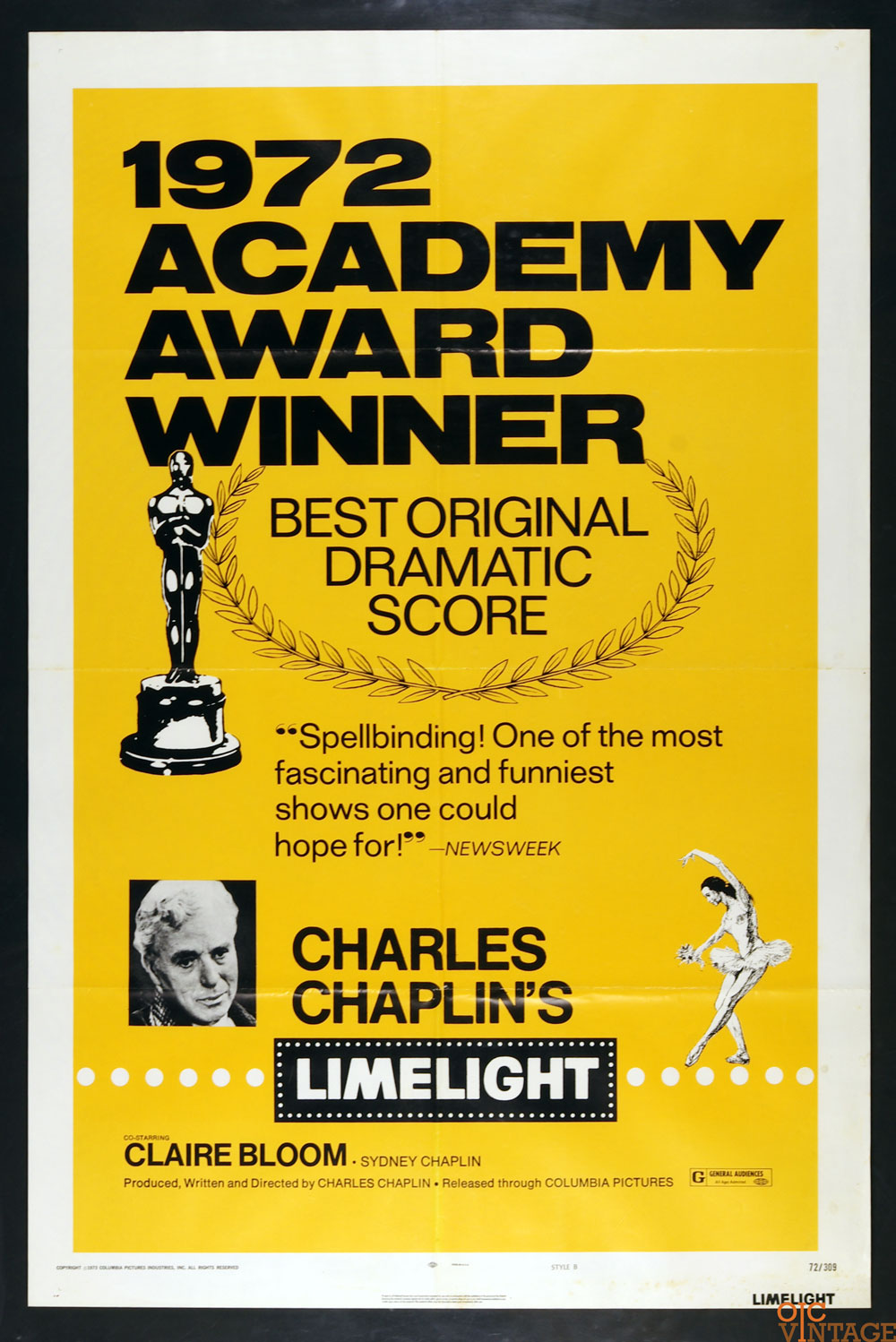 Limelight Movie Poster Charlie Chaplin R1972 Vintage 27x41 1 sheet Style B