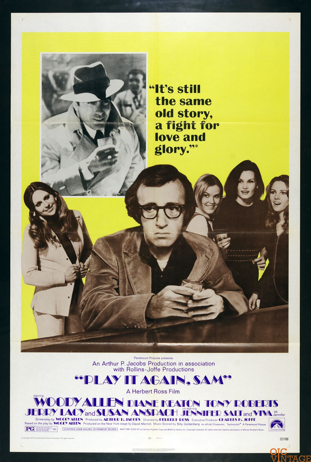 Play it Again Sam Movie Poster 1972 Woody Allen 27 x 41 1 Sheet