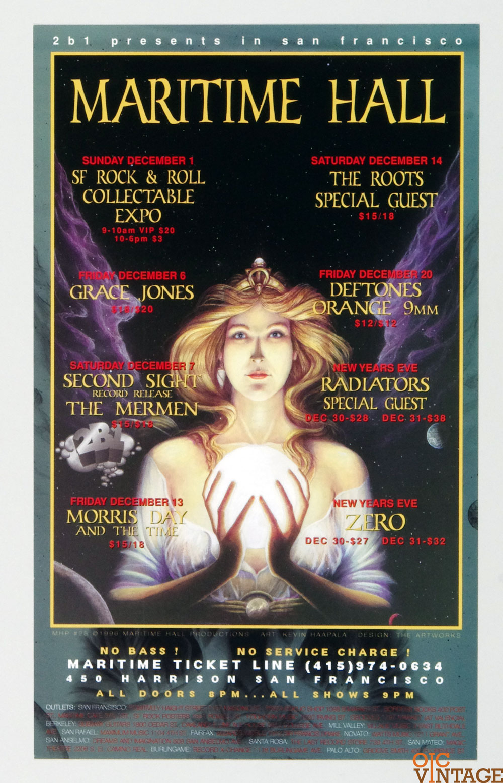 Maritime Hall 1996 Dec Poster The Roots Deftones Orange Radiators Zero