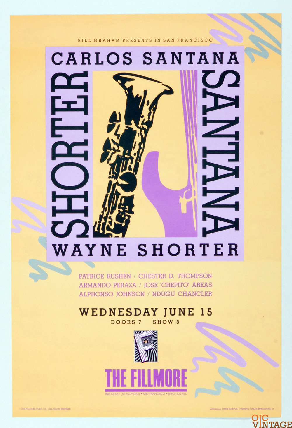 New Fillmore F026 Poster Carlos Santana Wayne Shorter 1988 Jun 15