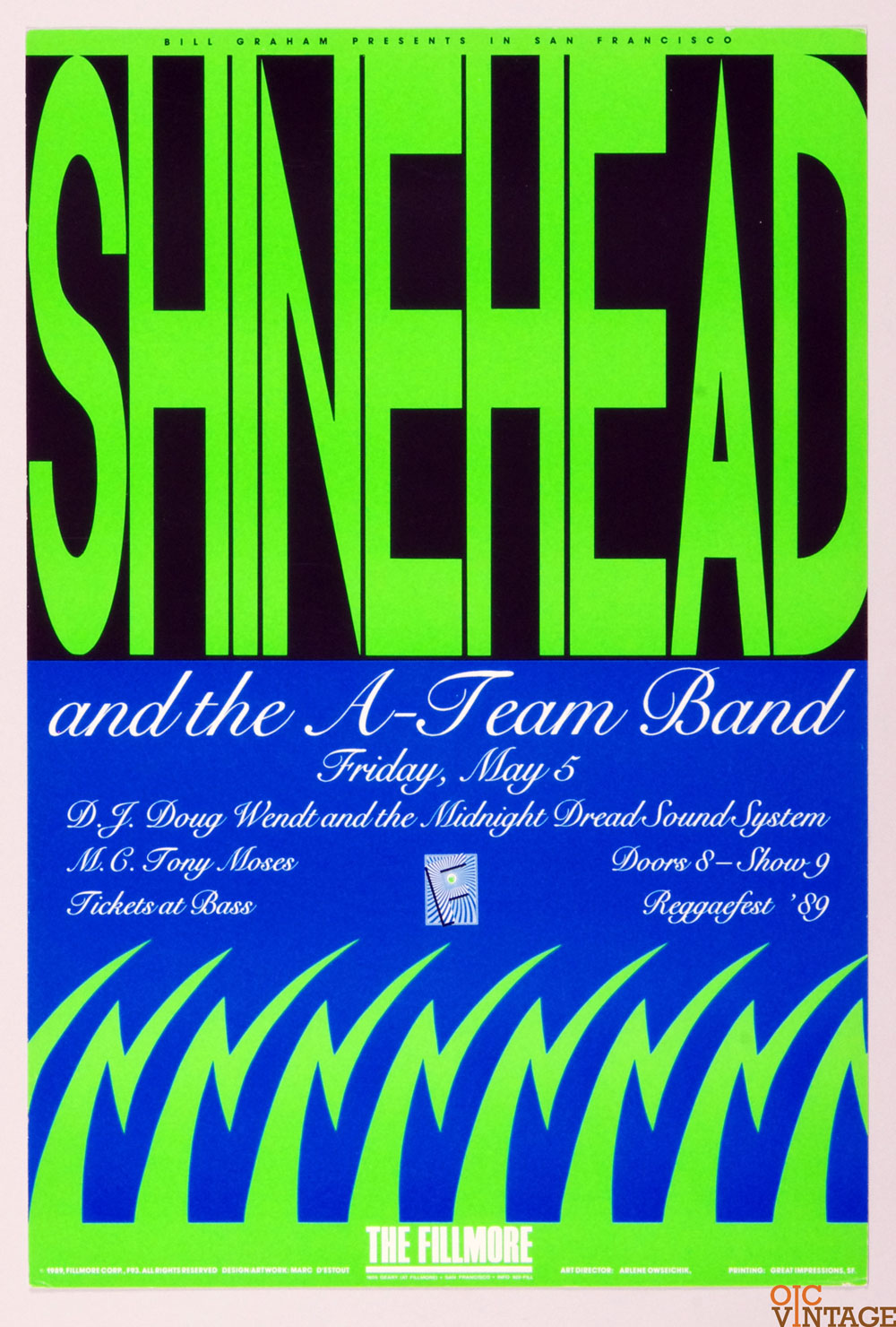 New Fillmore F093 Poster Shinehead and the A-Team Band 1989 May 5