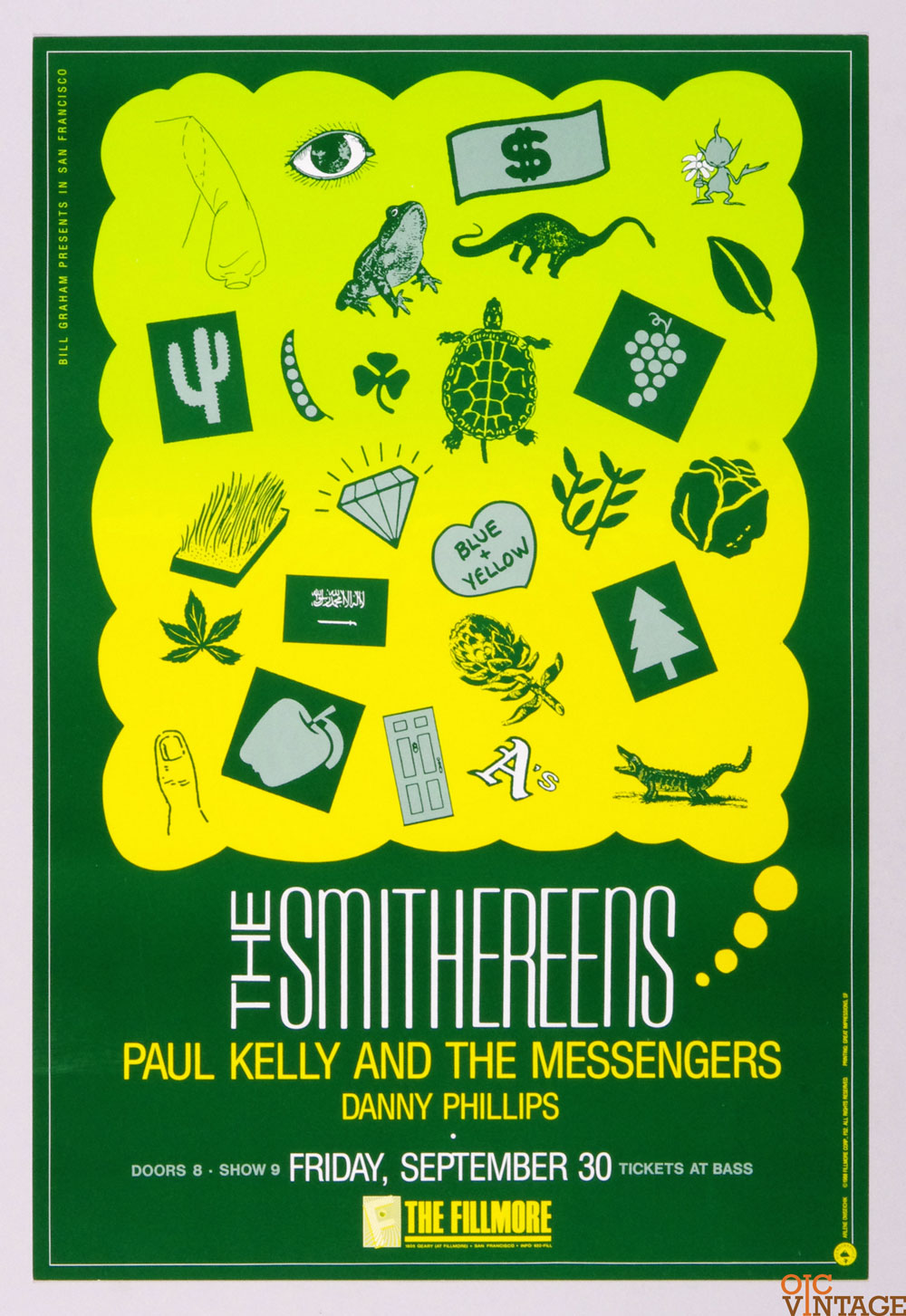 The Smithereens Paul Kelly and the Messenger Poster 1988 Sep 30 New Fillmore