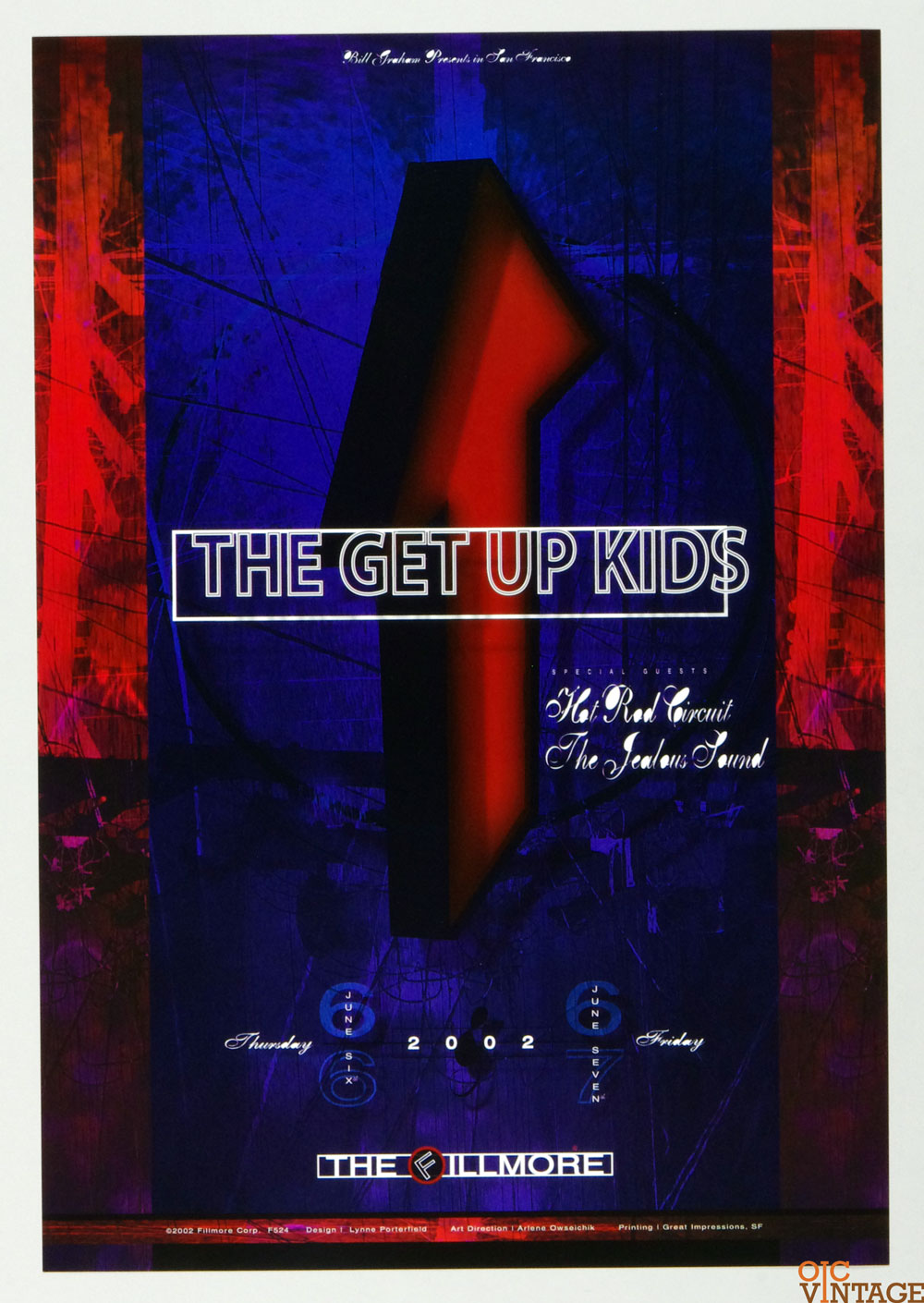 New Fillmore F524 Poster The Get Up Kids Hot Rod Circuit 2002 Jun 6