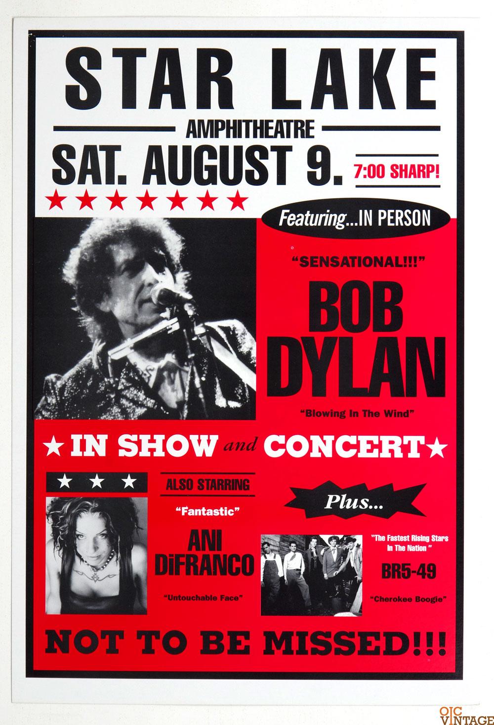 Bob Dylan Poster 1997 Summer Tour Aug 9 Burgettsdtown PA w/ Ani DiFranco BR5-49