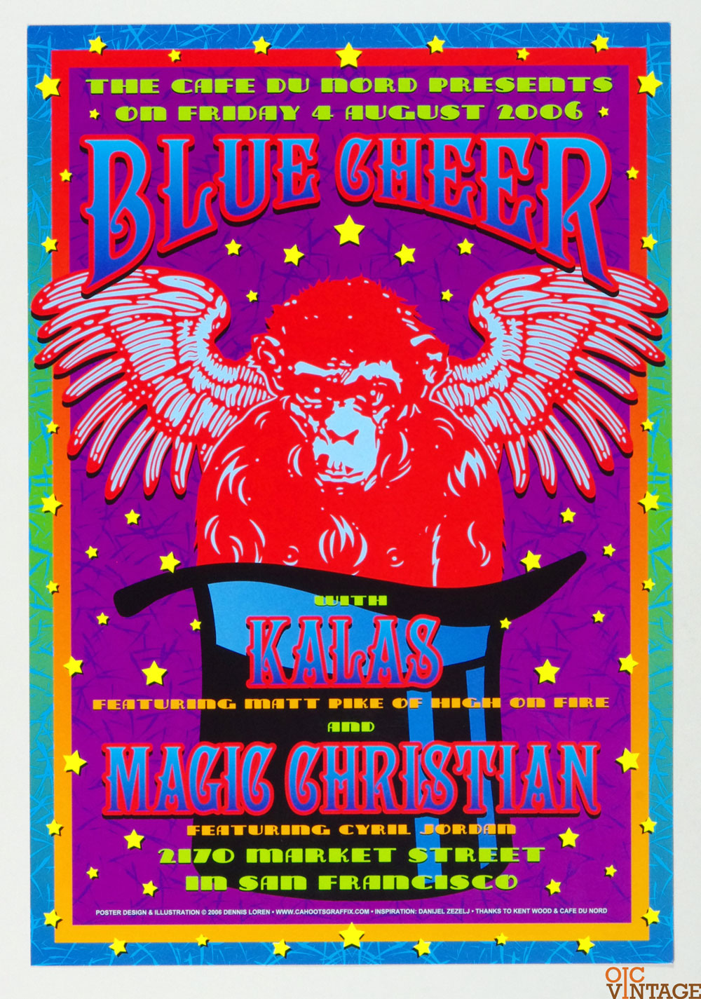 Blue Cheer Poster 2006 Aug 5 Cafe Du Nord San Francisco w/ Kalas Magic Christian