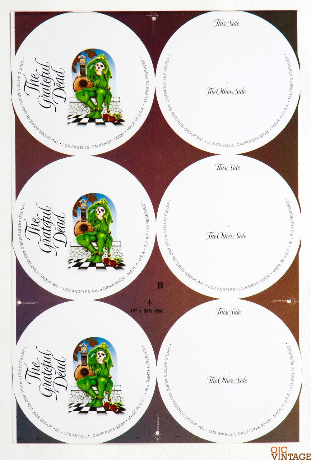 Rick Griffin Grateful Dead Wake of The Flood Concept Vinyl Label Proof 1973
