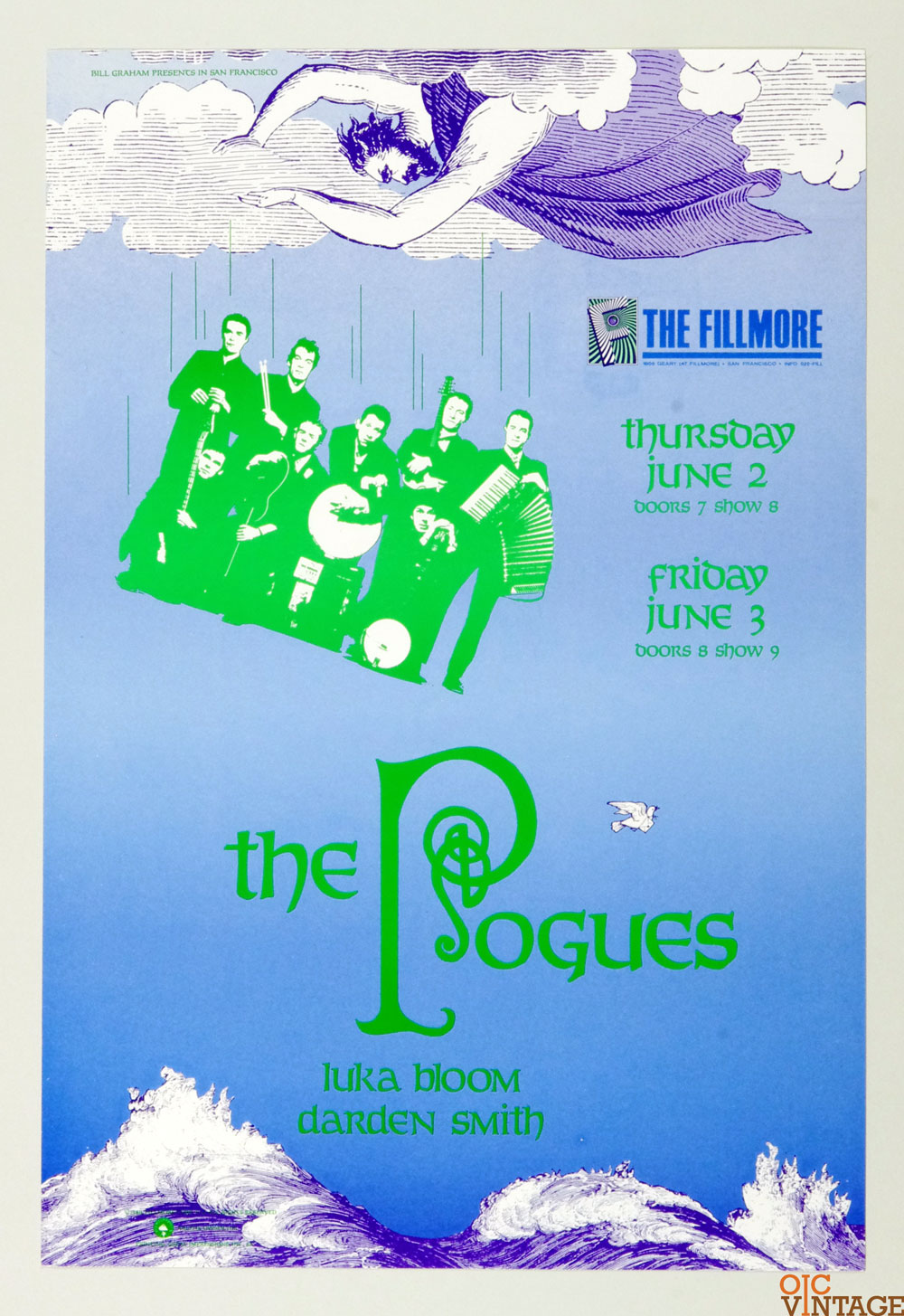 New Fillmore F024 Poster The Pogues Luka Bloom Daren Smith 1988 Jun 3