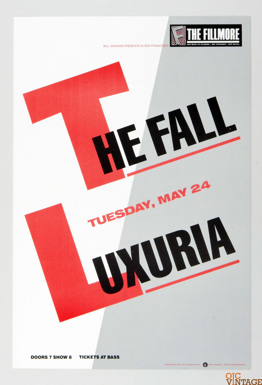 The Fall Luxuria Poster 1988 May 24 New Fillmore