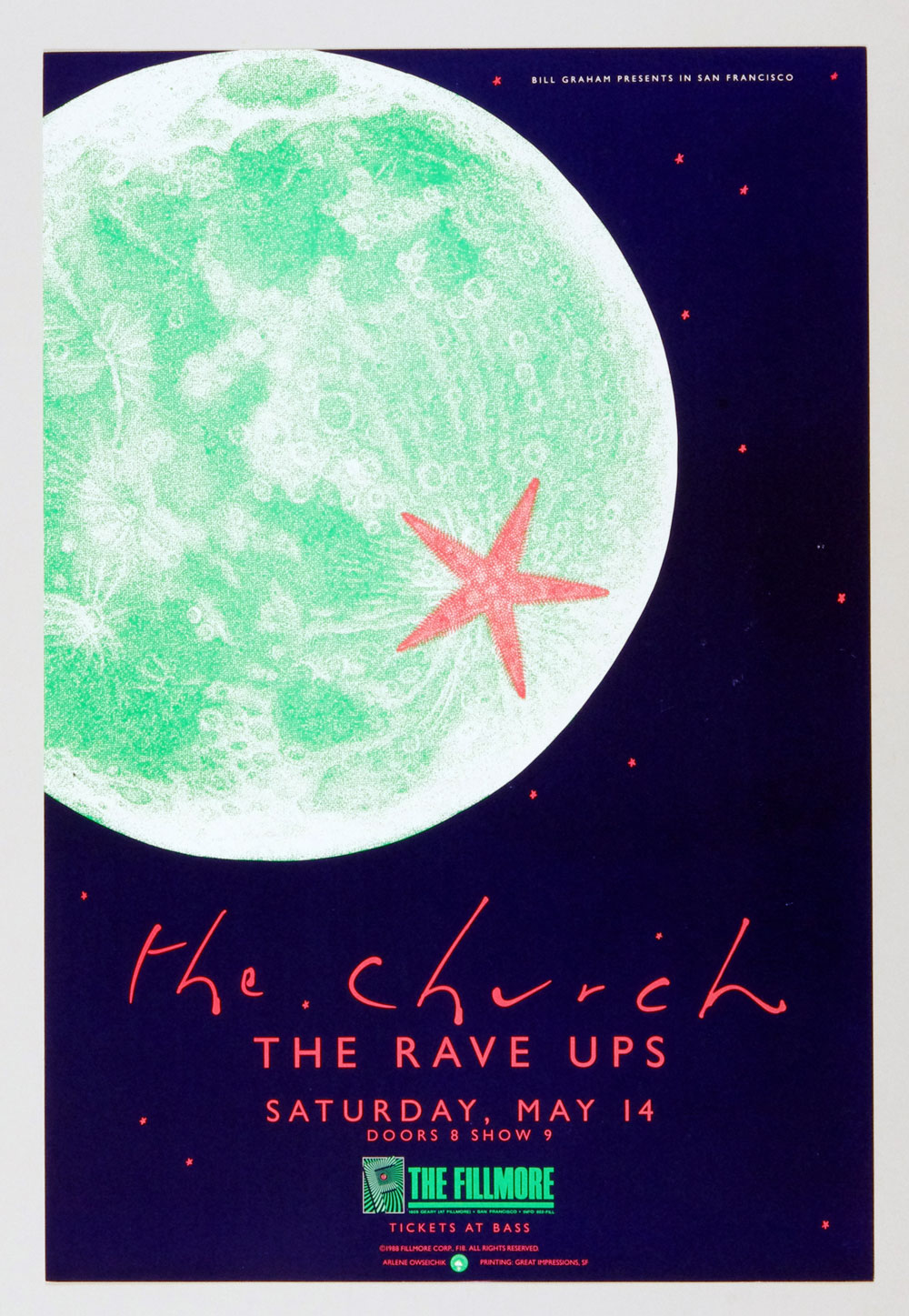 New Fillmore F018 Poster The Church The Rave Ups 1988 May 14