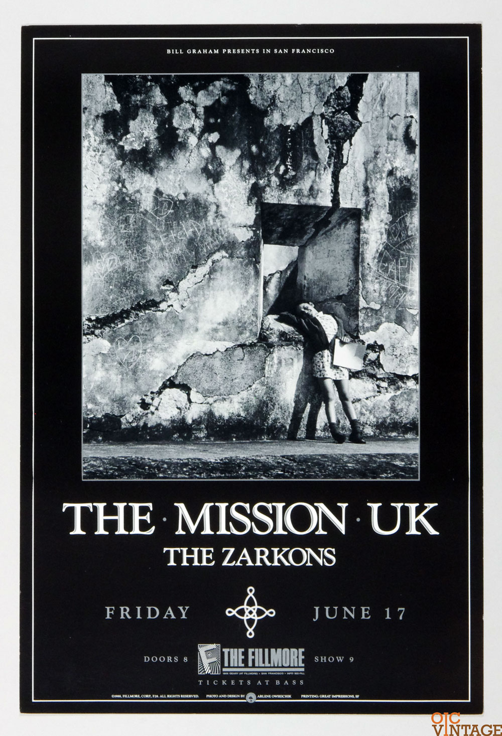 New Fillmore F028 Poster The Mission UK The Zarkons 1988 Jun 17
