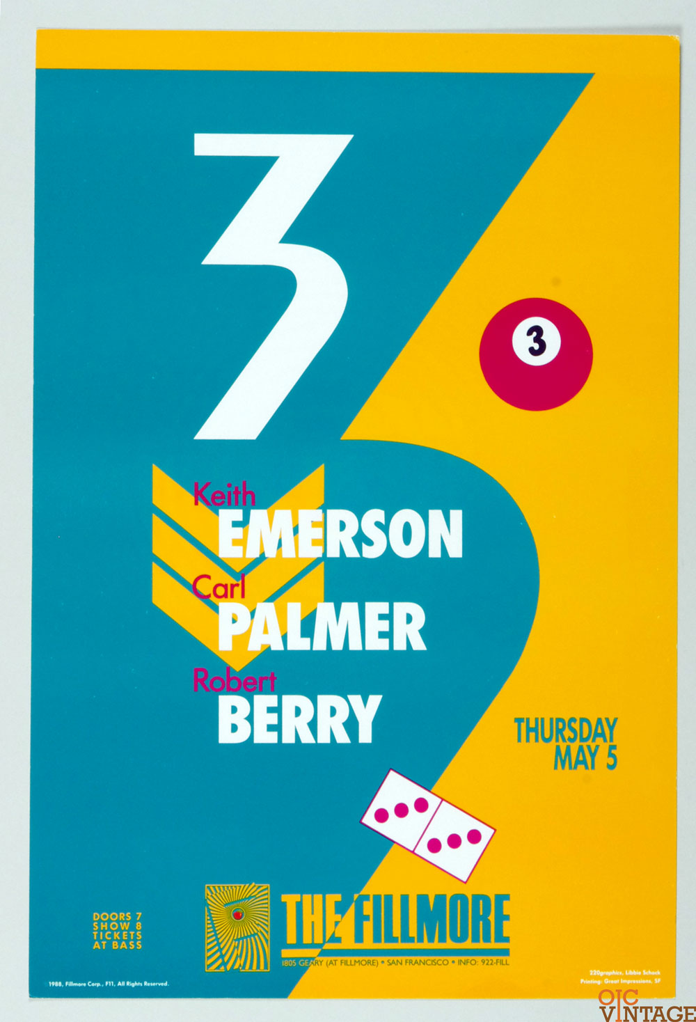New Fillmore F011 Poster Emerson Palmer Berry 1988 May 5