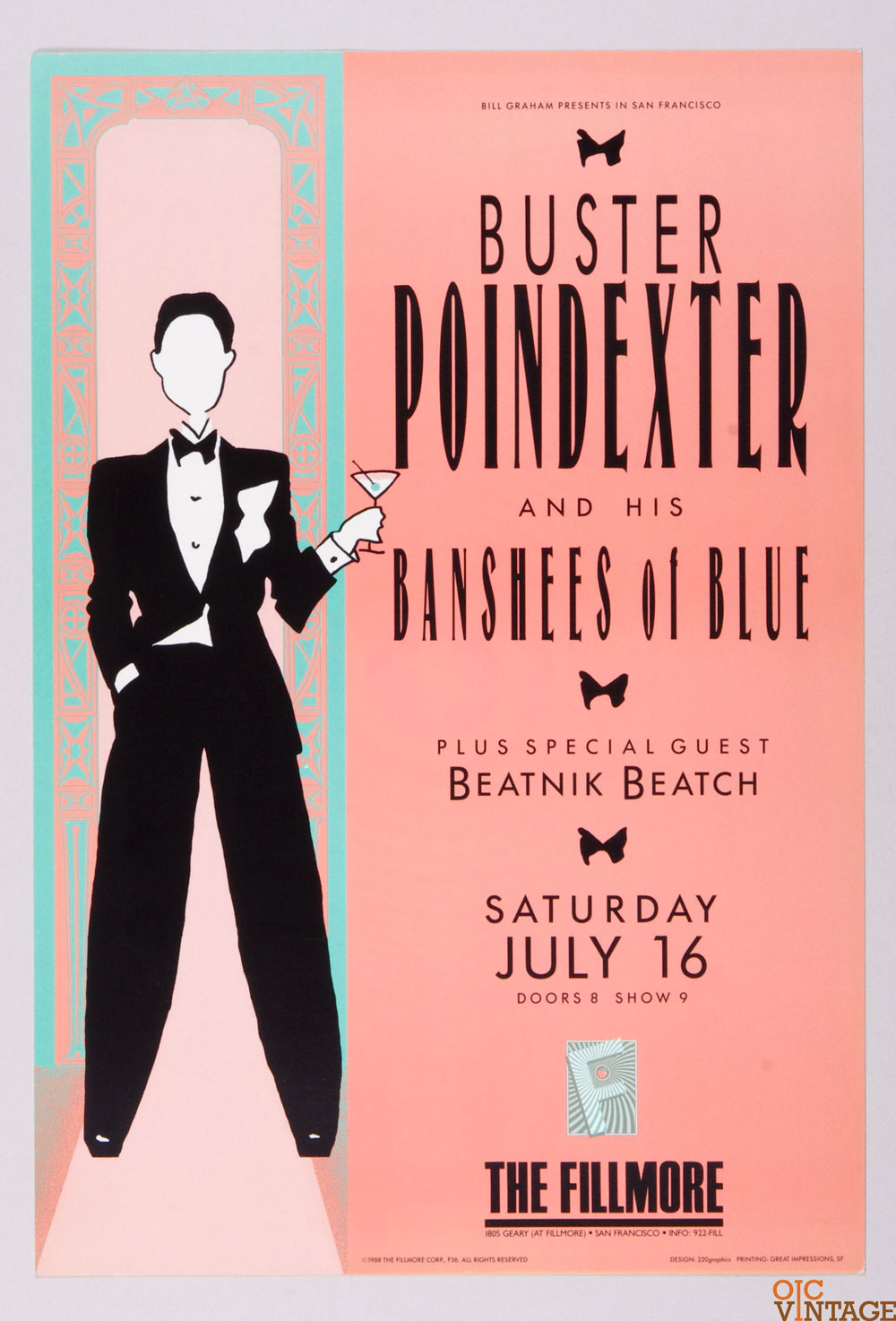 Buster Poindexter and His Banshees of Blue Poster 1988 Jul 16 New Fillmore