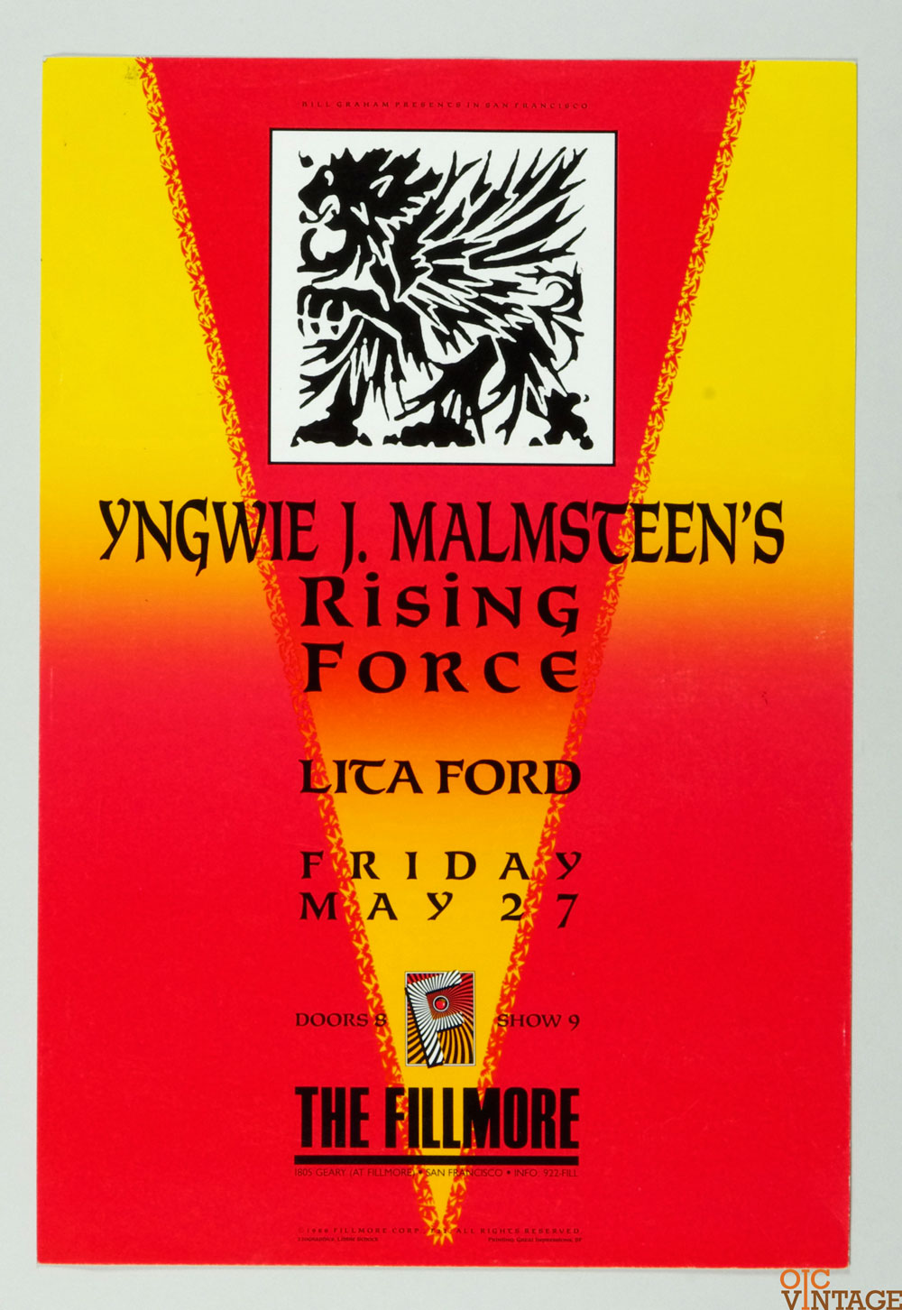 New Fillmore F022 Poster Yngwie J. Malmsteen's Rising Force 1988 May 27