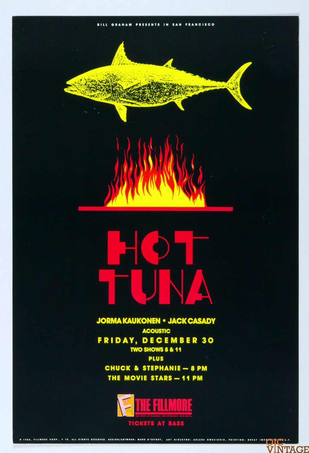 Hot Tuna Jorma Kaukonen Jack Cassidy Poster 1988 Dec 30 New Fillmore