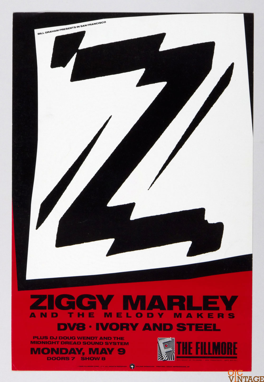 New Fillmore F014 Poster Ziggy Marley DV8 Ivory and Steel 1988 May 9