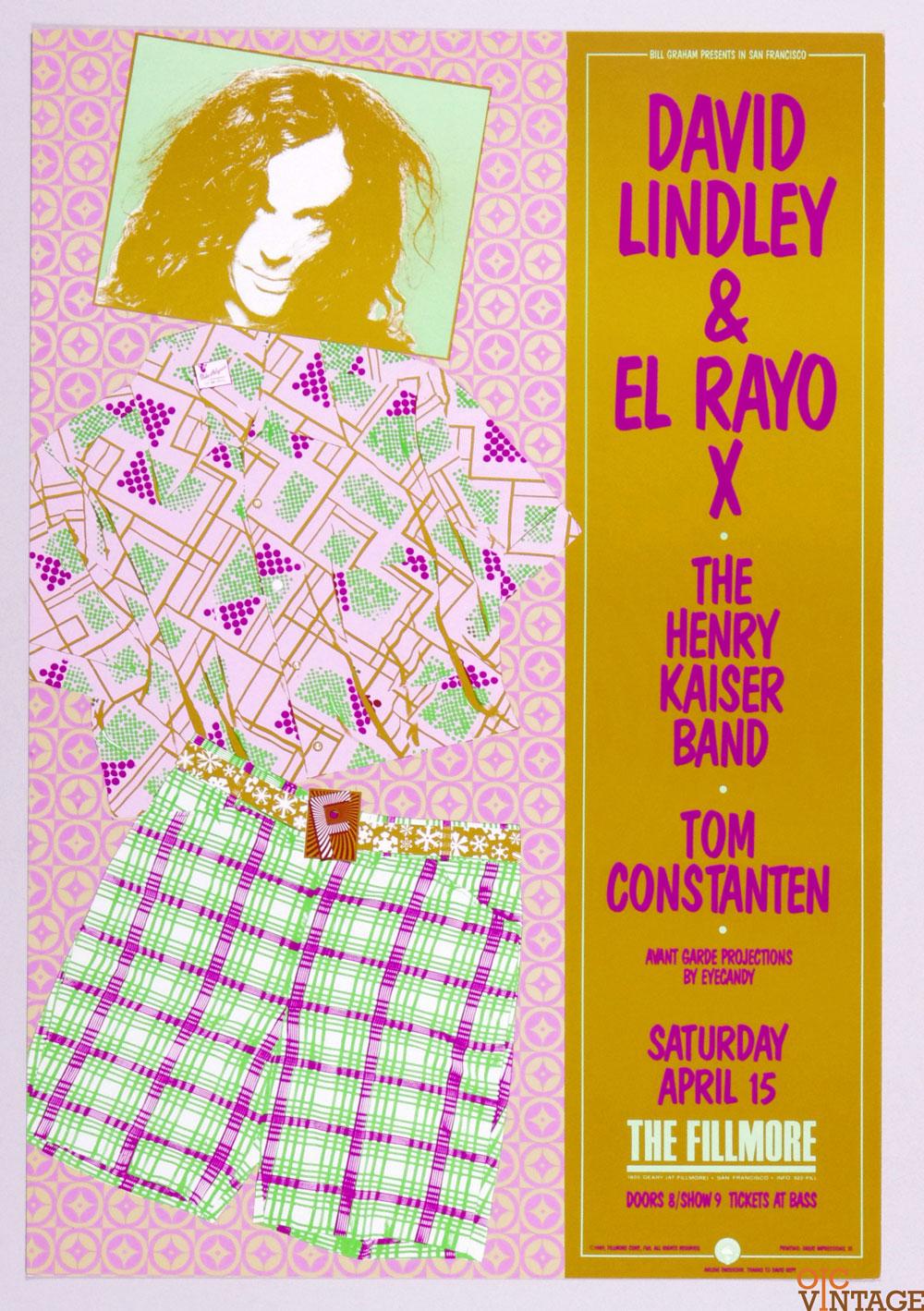 New Fillmore F088 Poster David Lindley El Rayo X Henry Kaiser band 1989 Apr 15