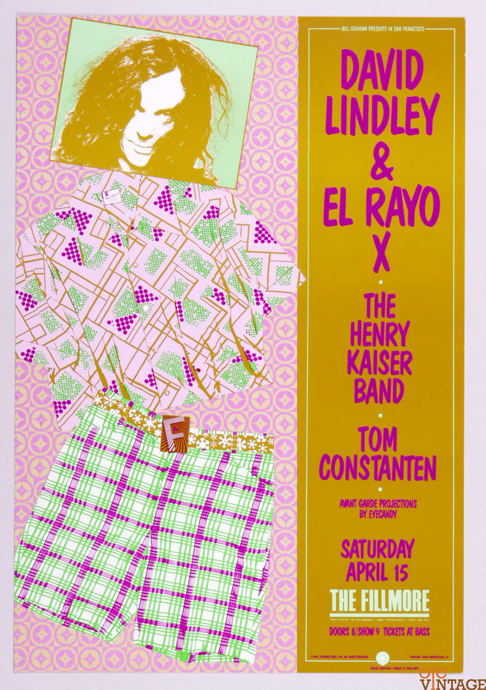 David Lindley El Rayo X Henry Kaiser band Poster 1989 Apr 15 New Fillmore