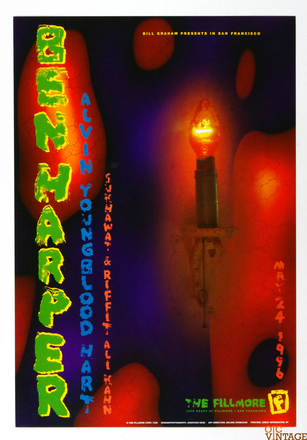 New Fillmore F225 Poster Ben Harper Alvin Youngblood Hart 1996 May 24