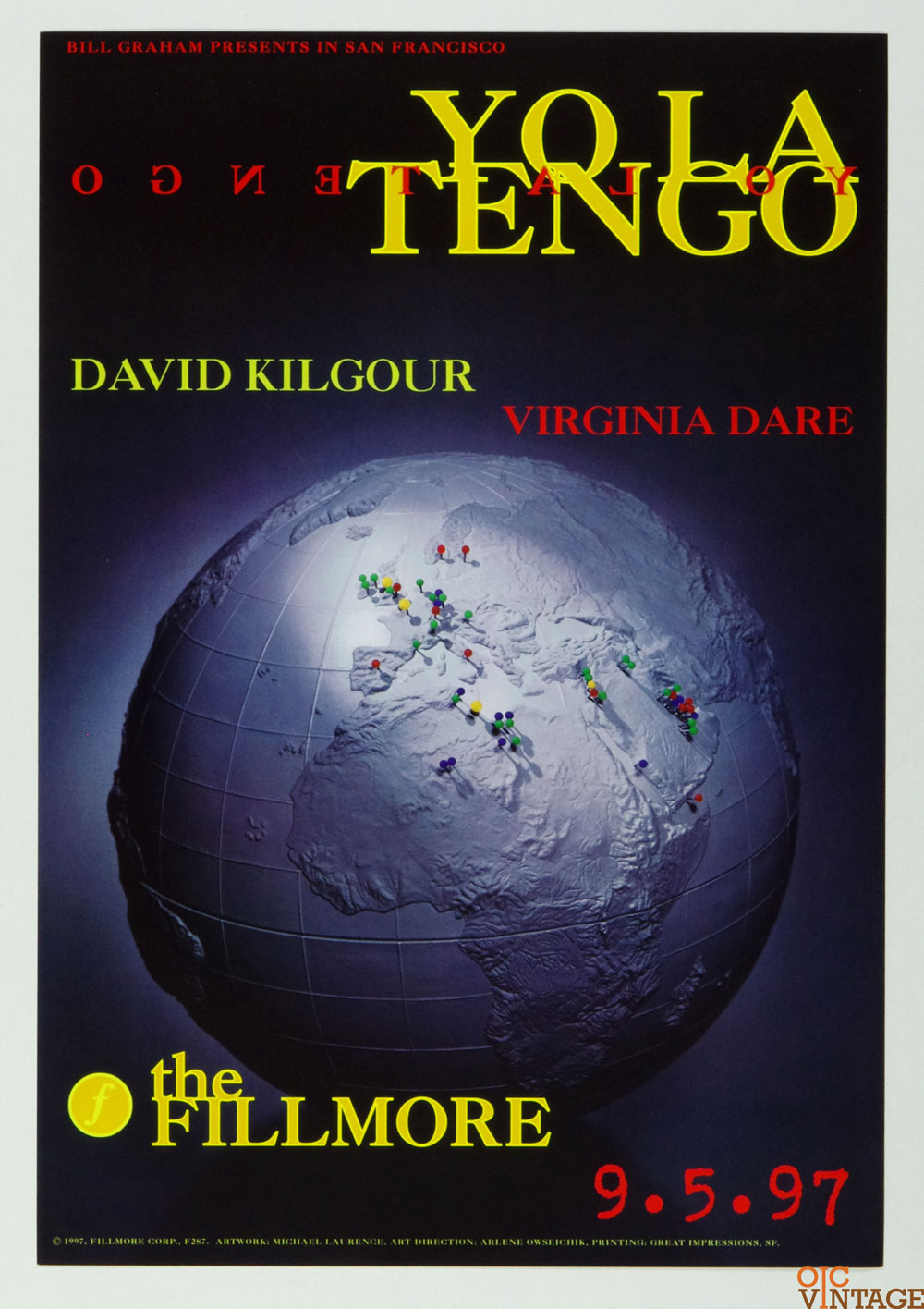 New Fillmore F287 Poster Yo La Tengo David Kigour 1997 Sep 5