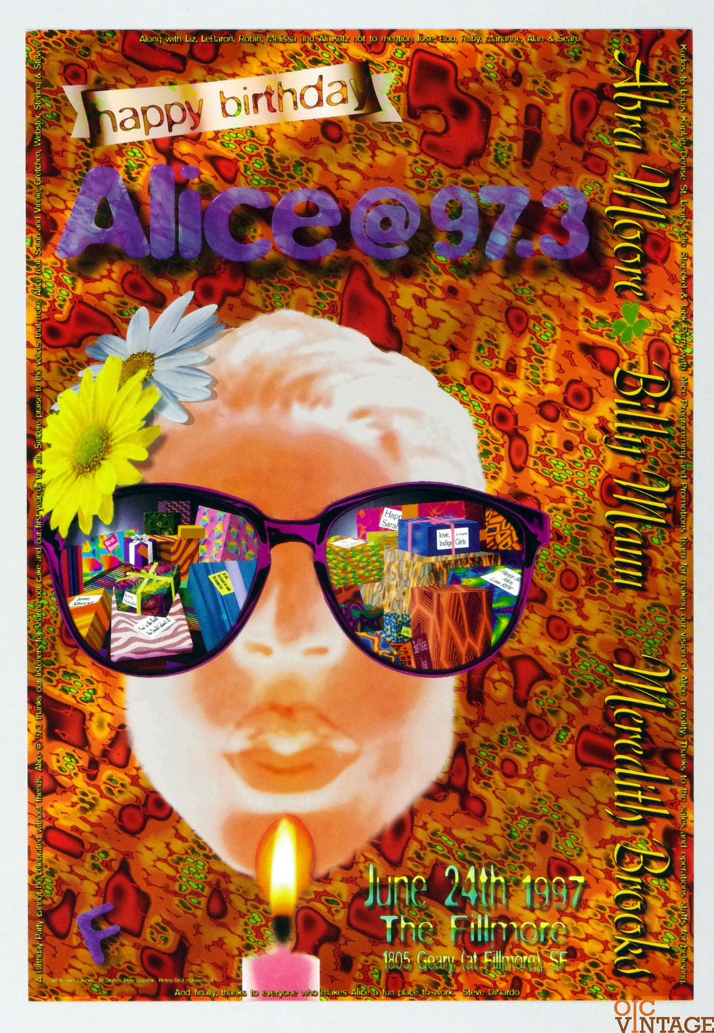 New Fillmore Poster Meredith Book Alice@97.3 FM Birthday Party 1997 Jun 24