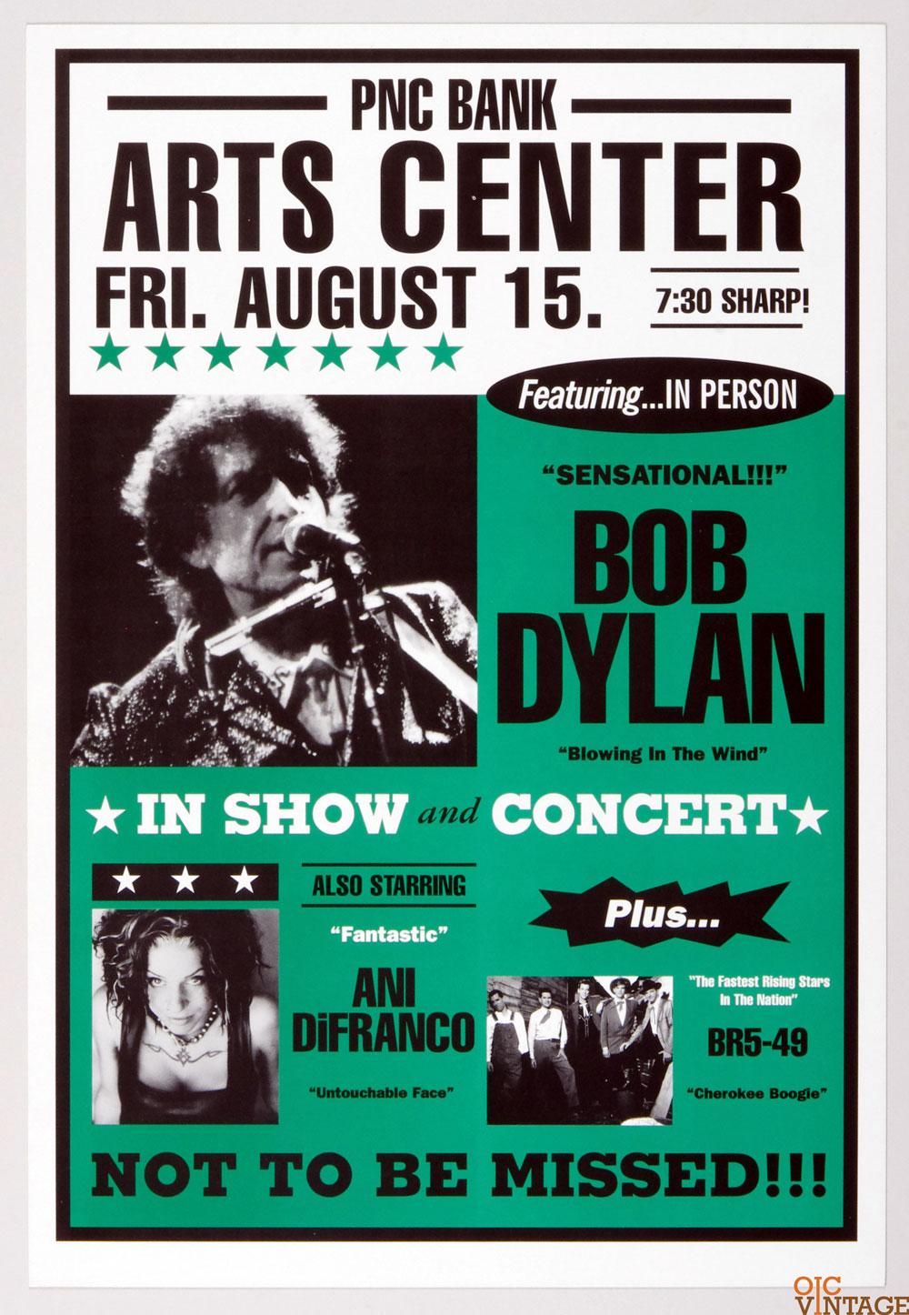 Bob Dylan Poster 1997 Summer Tour Aug 15 Holmdel NJ w/ Ani DiFranco BR5-49