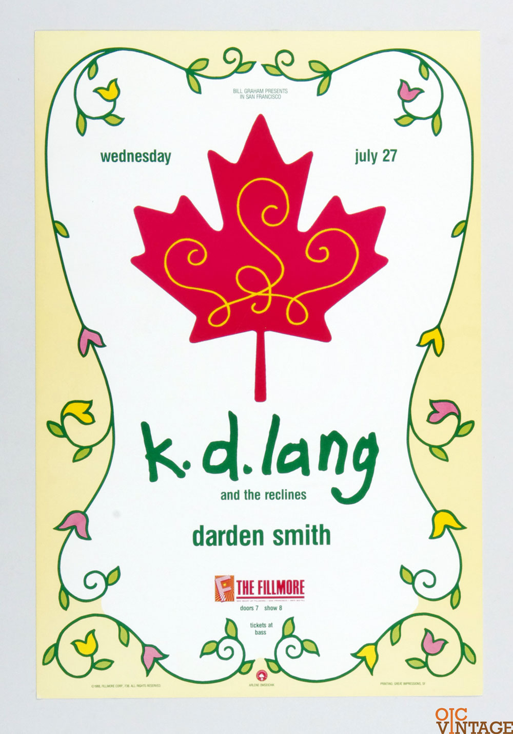New Fillmore F38 Poster K. D. Lang and the Recliners Darden Smith 1988 Jul 27