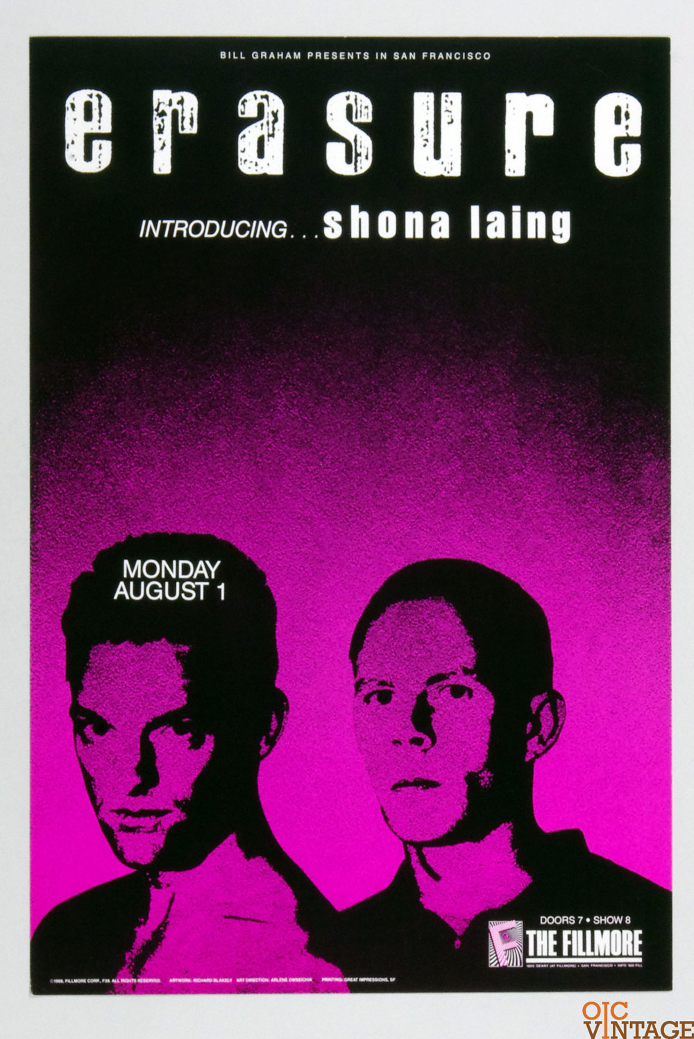 Erasure Shona Laing Poster 1988 Aug 1 New Fillmore