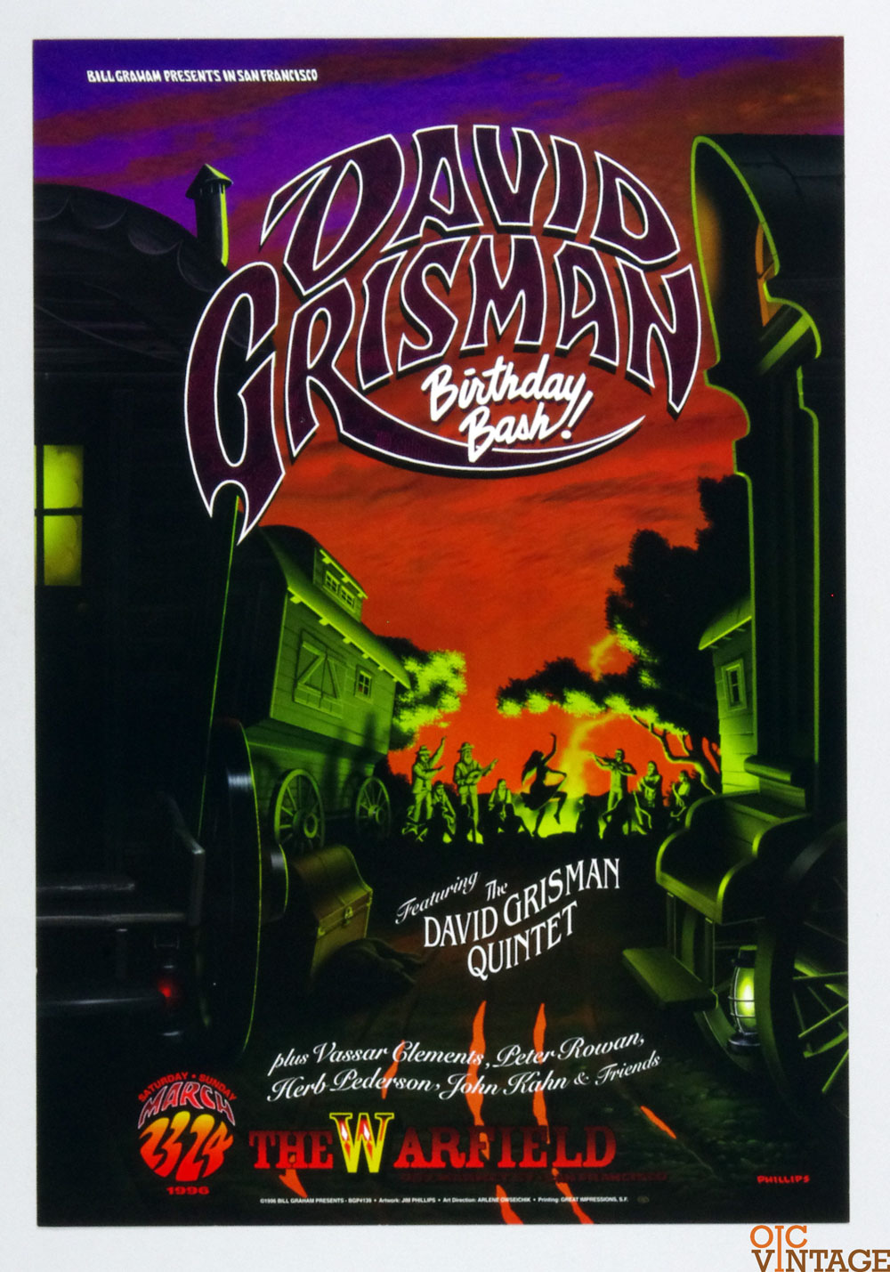 Bill Graham Presents Poster 1996 Mar 23 David Grisman Quintet Birthday Bash #139 Jim Phillips