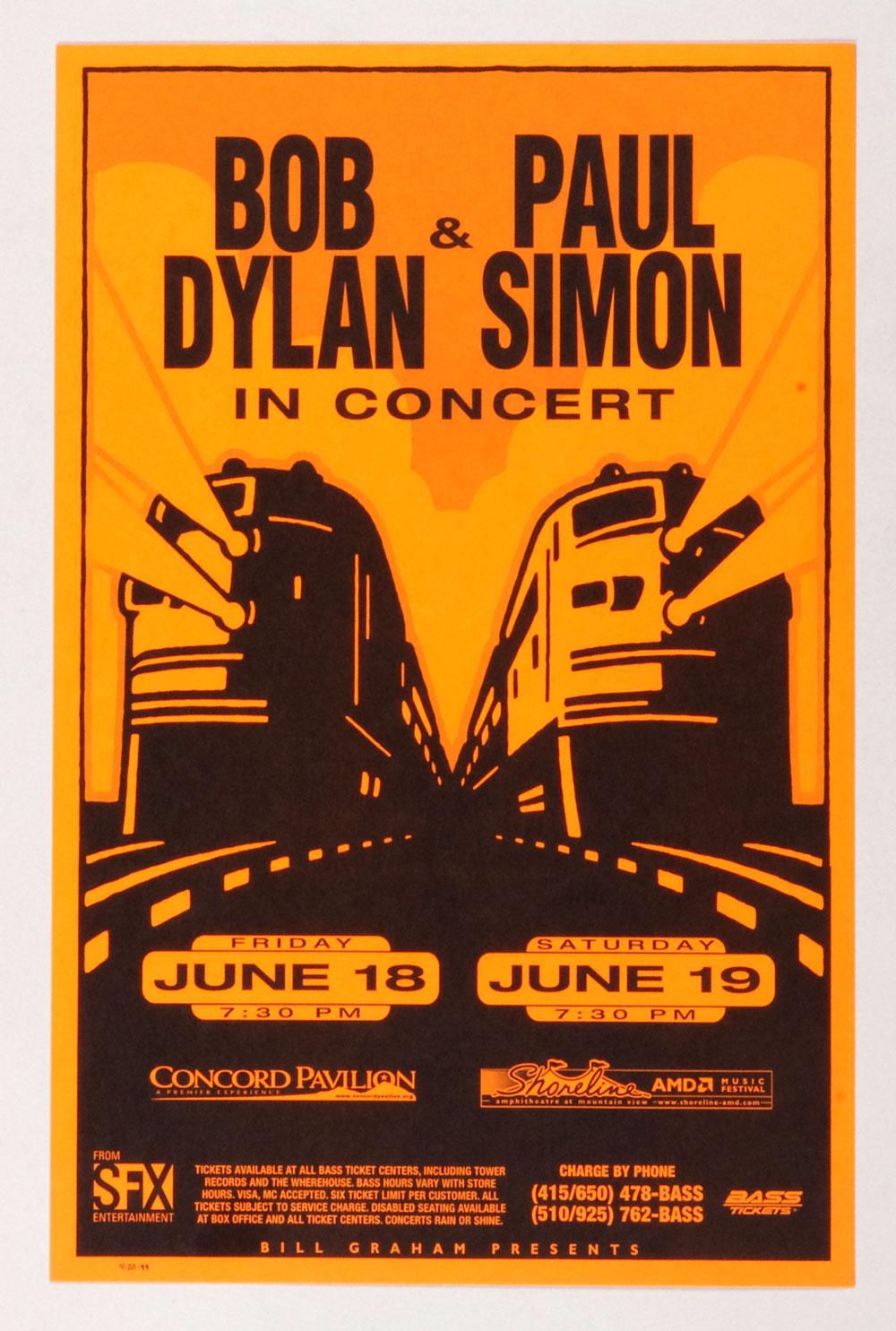 Bob Dylan Paul Simon Poster 1999 Jun 18 Concord Pavilion Shoreline Amphitheatre