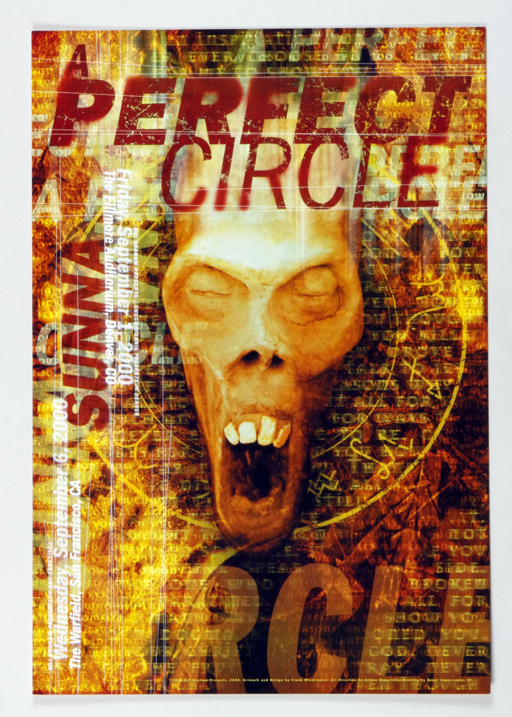 A Perfect Circle Poster 2000 Sep 6 The Warfiled Theatre San Francisco BGP 244