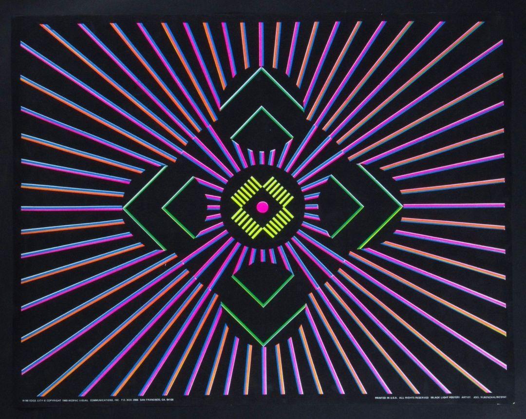 Joel Rubenzahl 1969 Edge City Psychedelic Vintage Black Light Poster 22 x 28