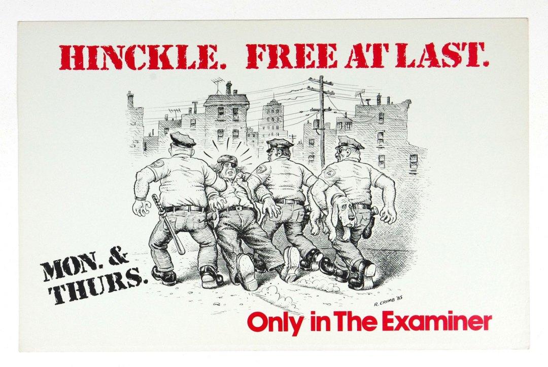 Robert Crumb Poster Hinckle Free at Last San Francisco Examiner 1985