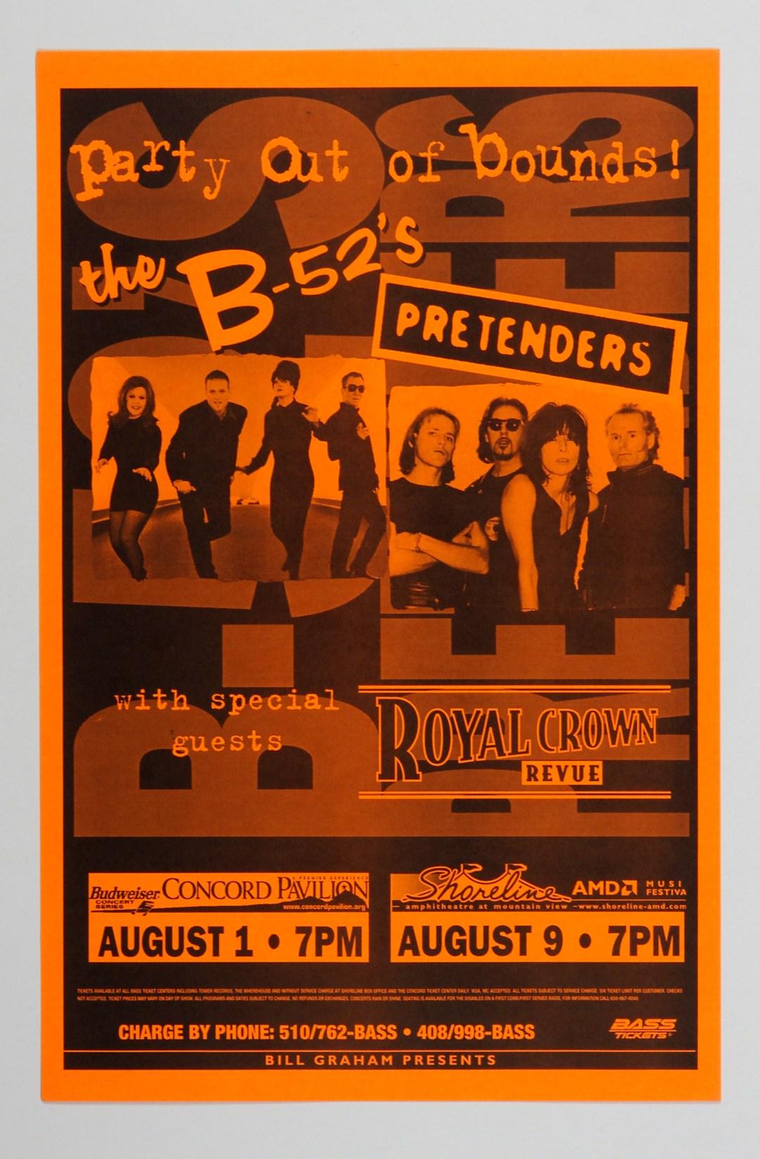 B-52's Pretenders Poster 1998 Aug 1 Concord Pavilion Shoreline Amphitheatre