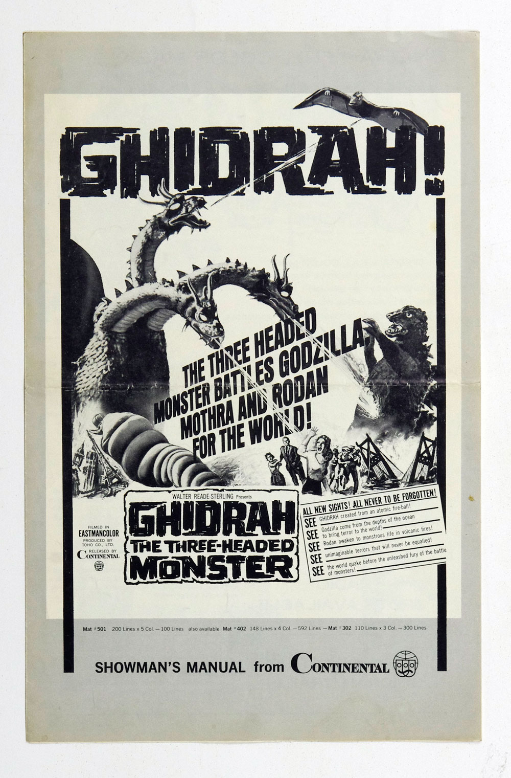 Ghidorah The Three Headed Monster 1964 Showman's Manual from Continental