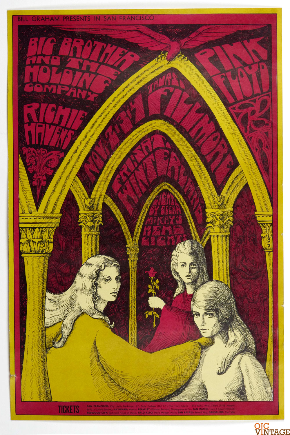 Bill Graham  91 Poster Pink Floyd Big Brother and The Holding co 1967 Nov 2