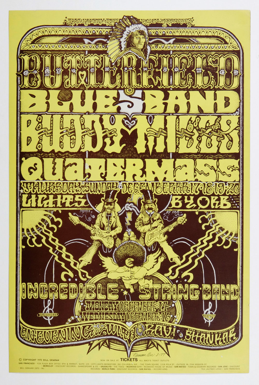 BG 261 Poster Incredible String Band Ravi Shankar 1970 Dec 14 Norman Orr signed