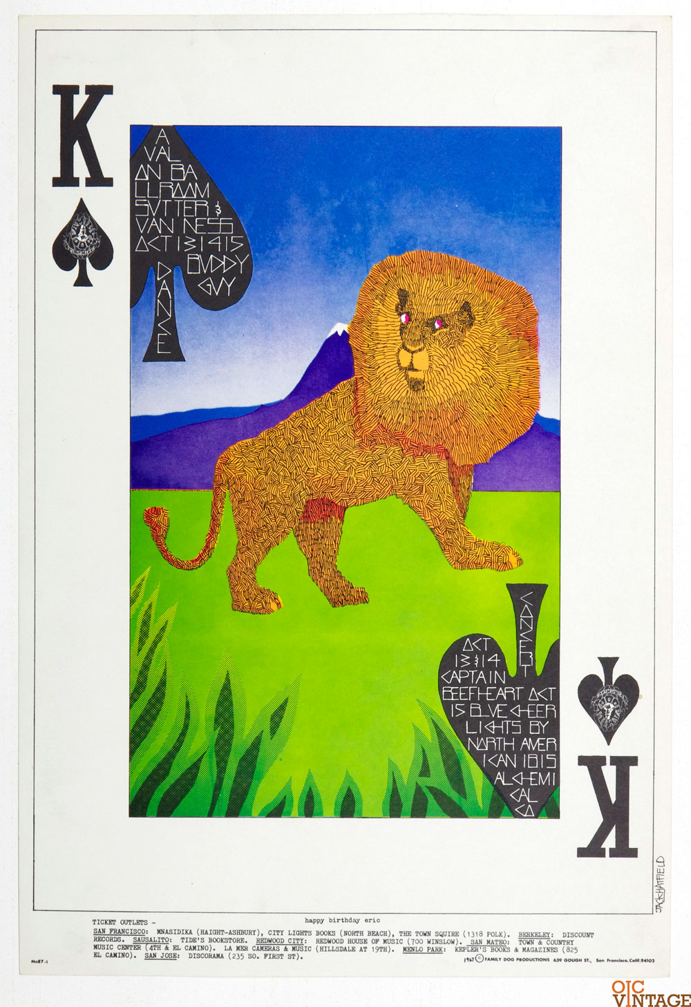 Family Dog 087 Poster King of Spades 1967 Oct 13 Buddy Guy Captain Beeftheart Blue Cheers