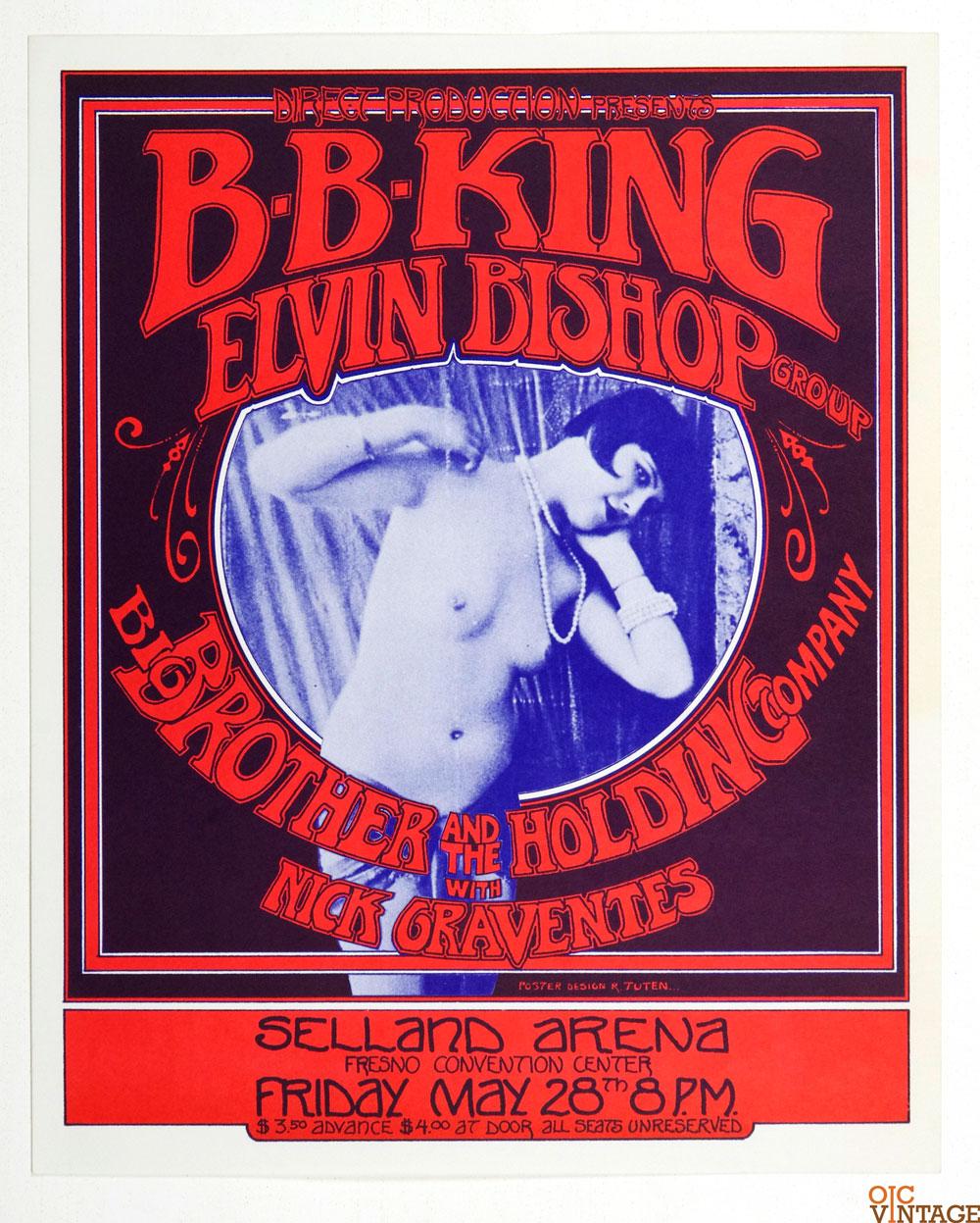 B.B. King Elvin Bishop Poster 1971 May 28 Selland Arena Fresno Randy Tuten