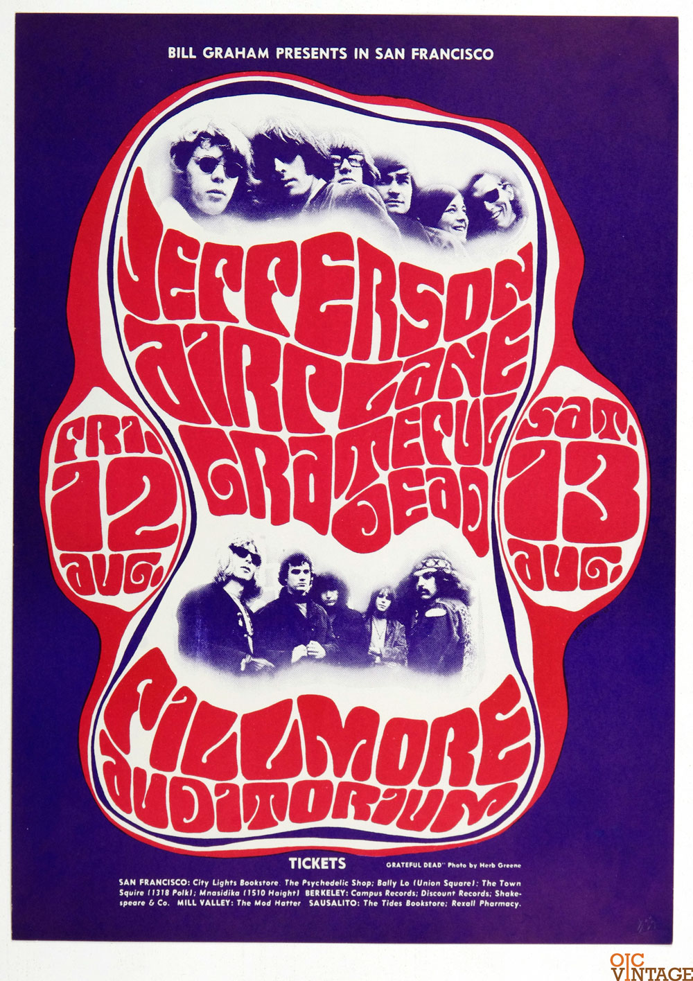 BG  23 Poster Grateful Dead Jefferson Airplane 1966 Aug 12