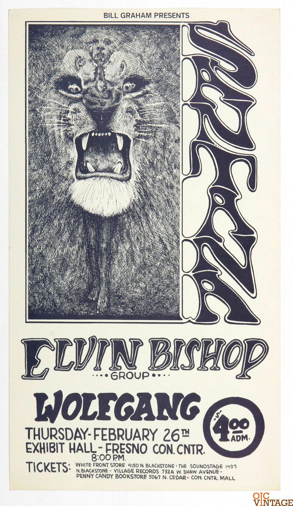 Bill Graham Presents Poster 1970 Feb 26 Santana Elvin Bishop Fresno Exhibition Hall
