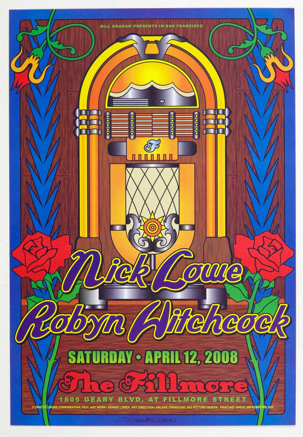 Nick Lowe Poster 2008 Apr 12 New Fillmore Dennis Loren Signed