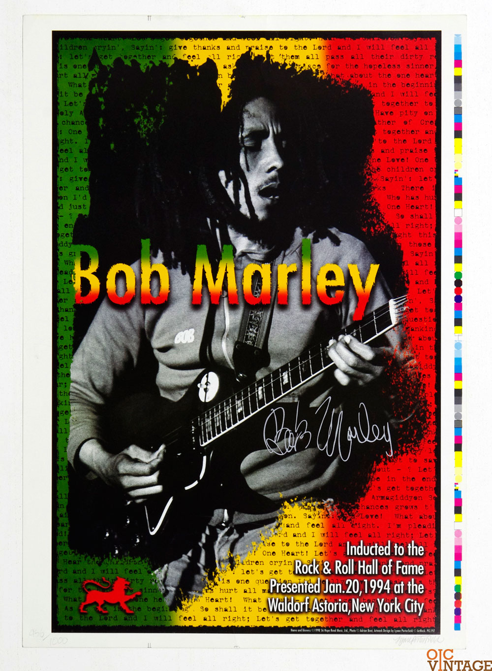 Bob Marley Poster Autographed 1994 Rock and Roll Hall of Fame Induction
