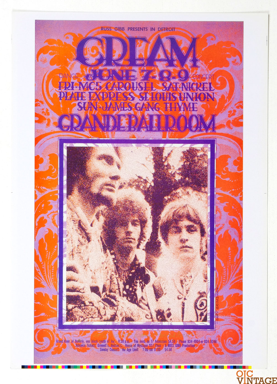Grande Ballroom Poster 1968 Jun 7 Uncut Proof CREAM MC5 Gary Grimshaw signed