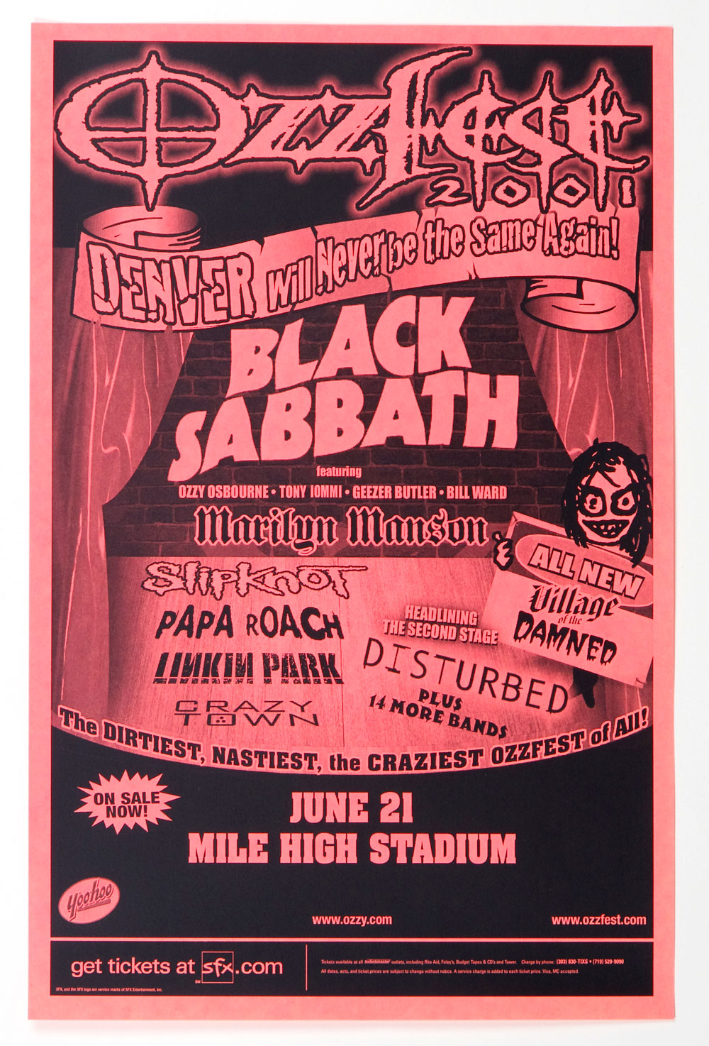 Black Sabbath Poster Ozzfest 2001 Jun 21 Denver