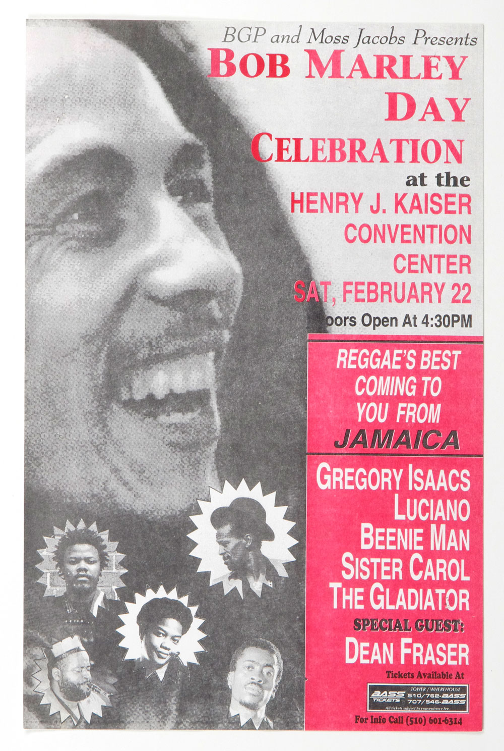 Bob Marley Day Gregory Issac Poster 1996 Feb 22 Oakland