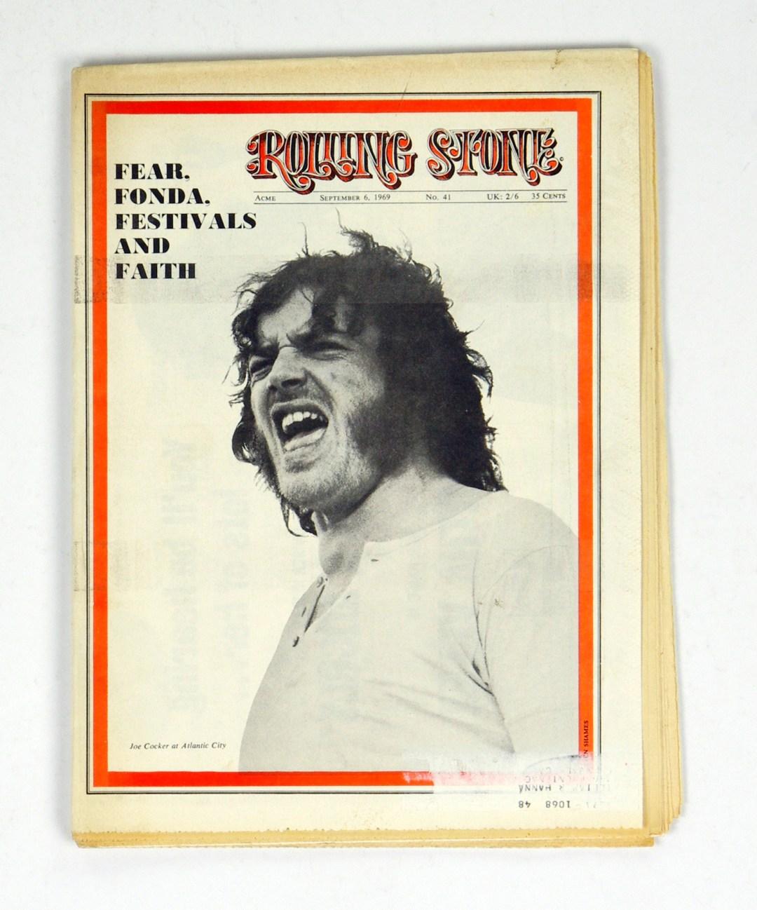 Rolling Stone Magazine 1969 Sep 6 No. 41 Joe Cocker Peter Fonda Easy Rider