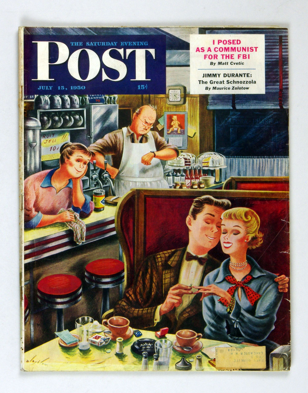 The Saturday Evening Post 1950 Jul 15 Romance in a Diner by Alajalov
