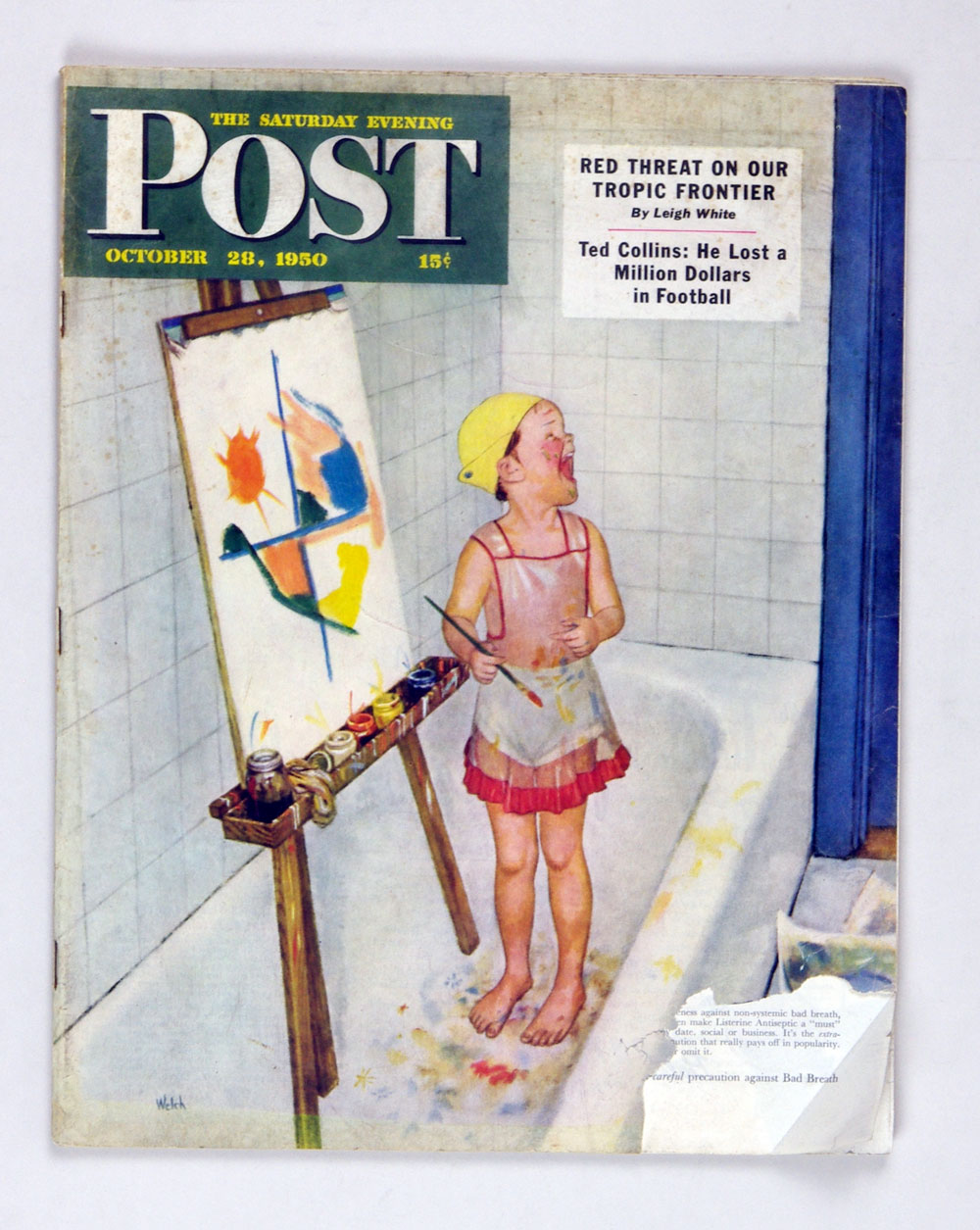 The Saturday Evening Post 1950 Oct 28 Kid Painting in Bathtub by Welch